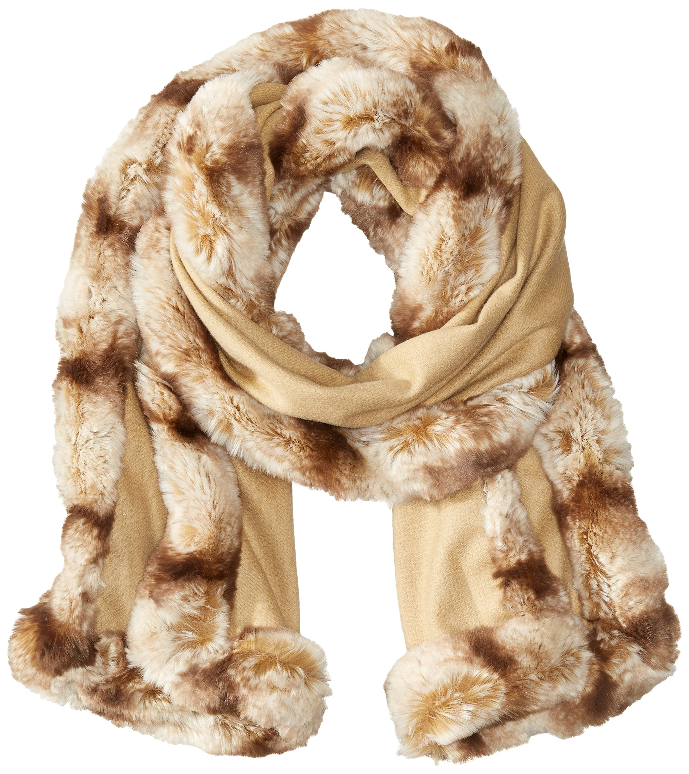 BADGLEY MISCHKA Women's Faux Trim Chinchilla Wrap, Camo/Almond, One Size