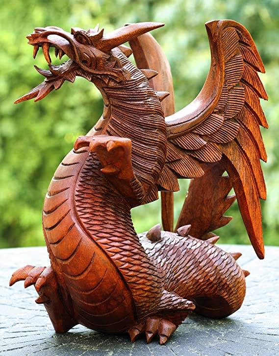 G6 Collection Extra Large Huge Solid Wooden Dragon Handmade Sculpture Statue Handcrafted Gift Art Decorative Home Decor Figurine Accent Decoration Artwork Hand Carved Dragon 16 Tall Kitchen Dining Amazon Com