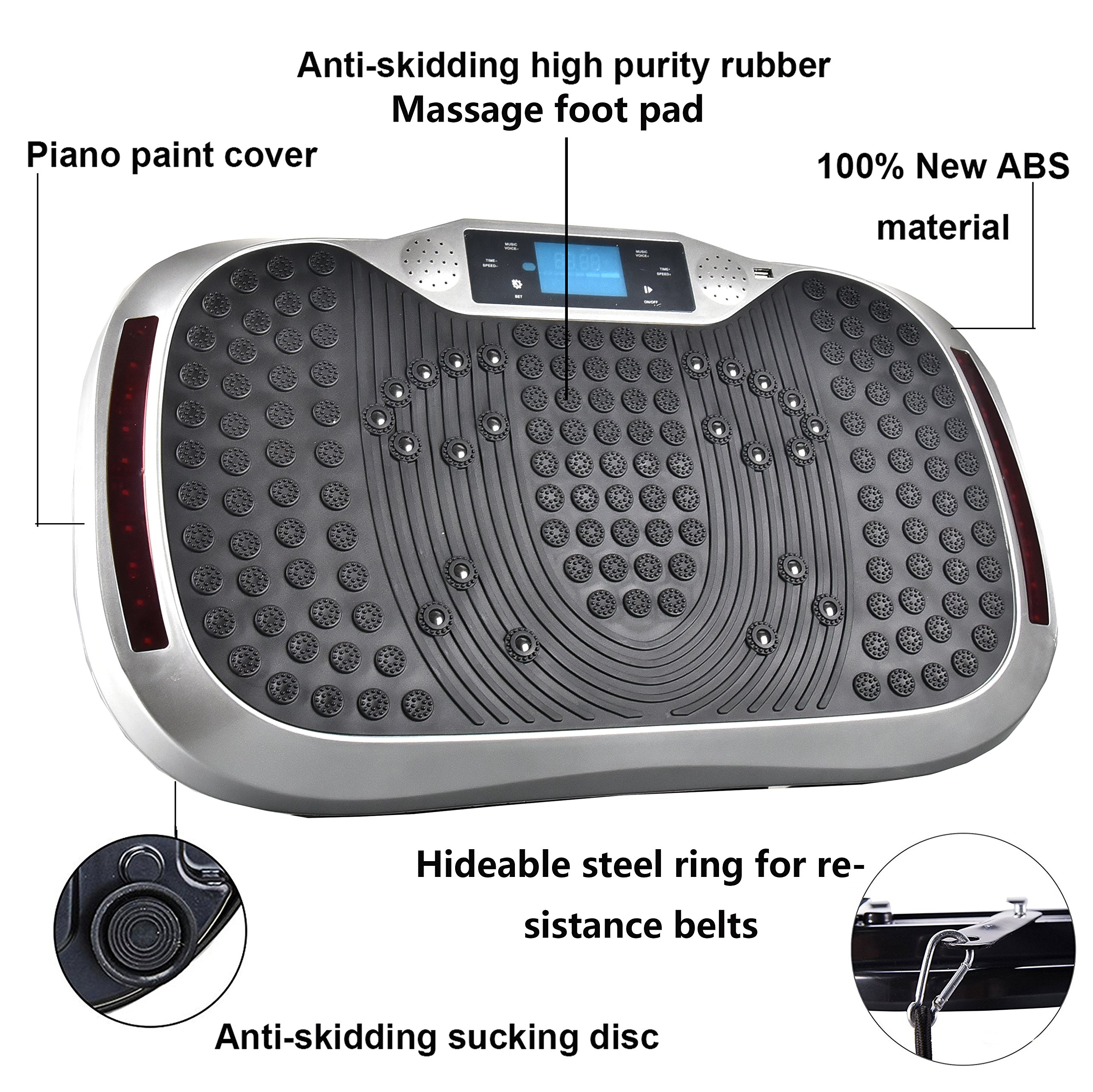 Reliancer Built-in Music Player Fitness Vibration Platform Whole Full Body Shaped Crazy Fit Plate Massage Workout Trainer Exercise Machine Plate w/Integrated USB Port&LED Light (W/Music-Silver) by Reliancer (Image #5)
