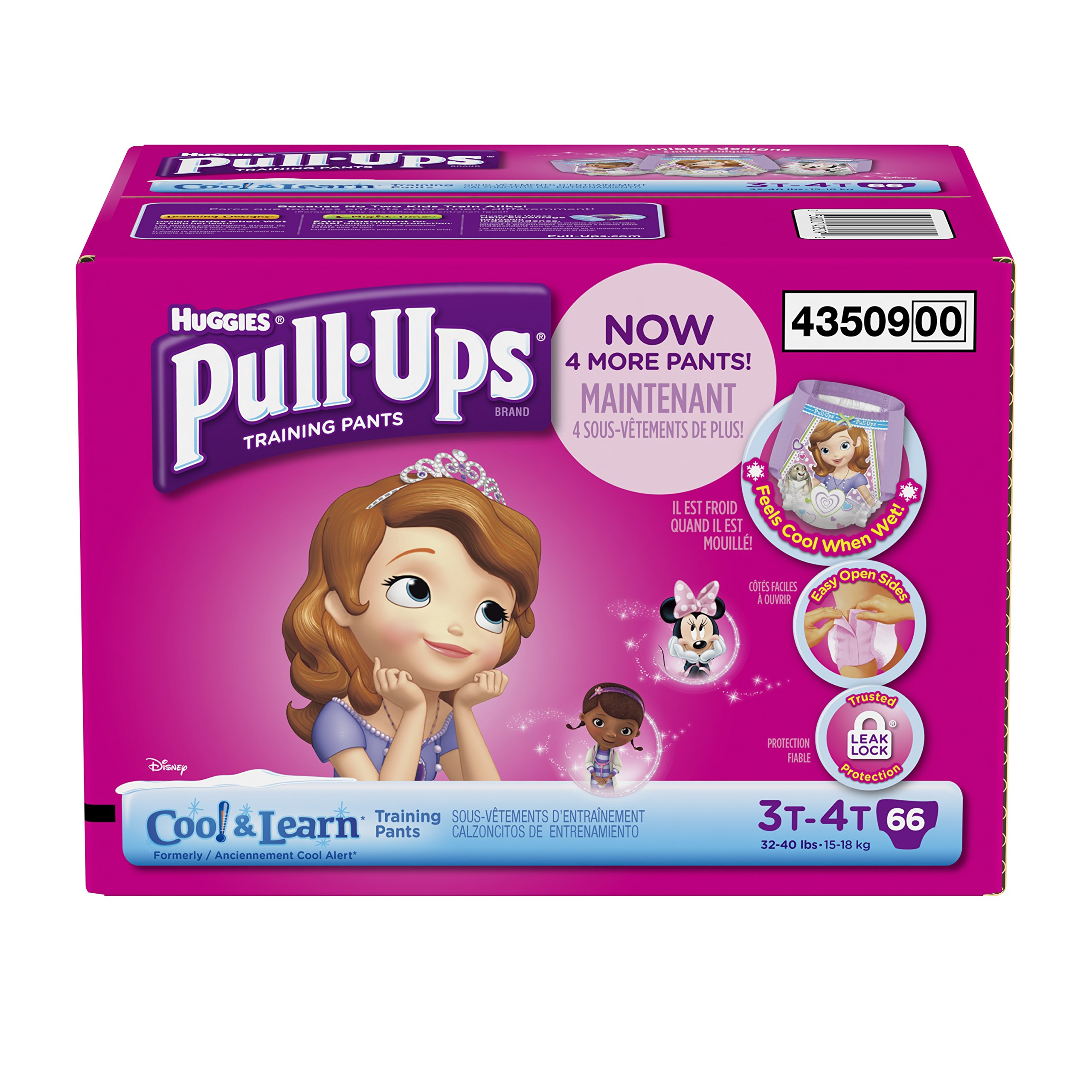 Huggies Pull-Ups Training Pants with Cool and Learn for Girls, Size 3T-4T, 66 Count