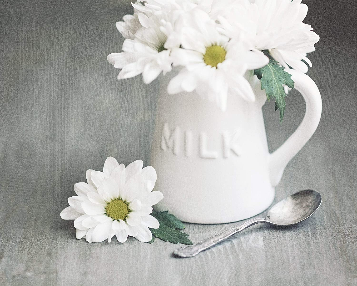Handmade Products Milk Creamer Jug With White Daisies Photo Print Daisy Photo Rustic Art For Kitchen Farmhouse Wall Decor Country Kitchen Decor White Kitchen Wall Art White And Gray Art Home
