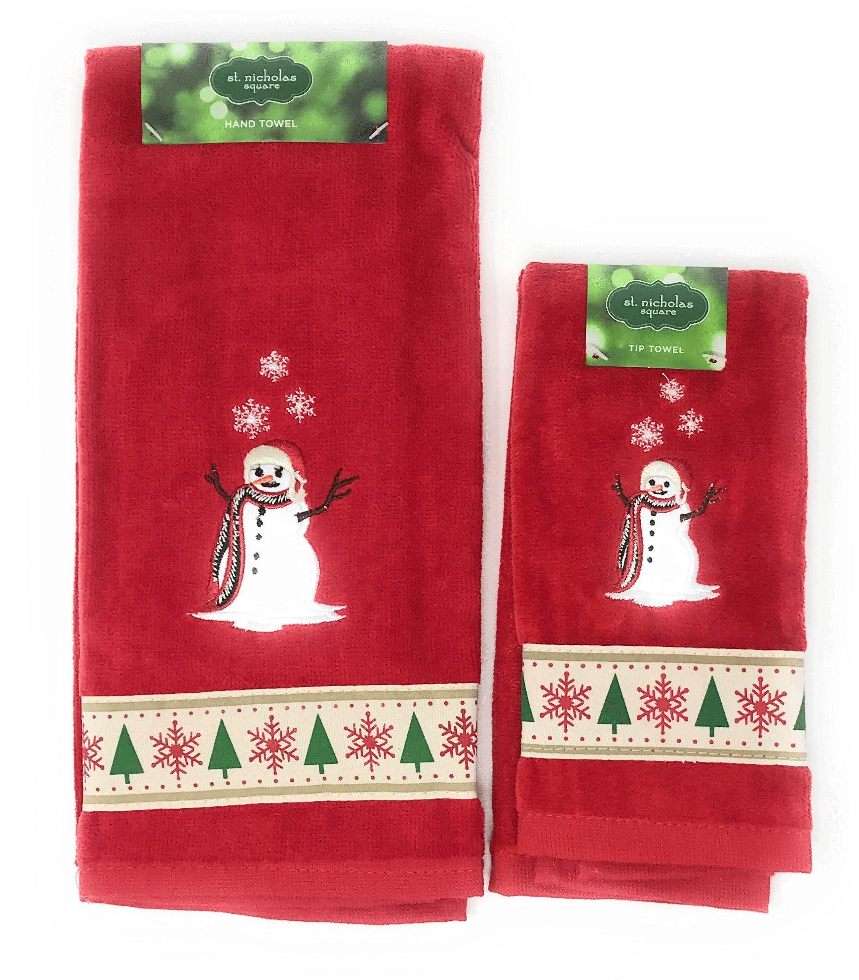St. Nicholas Square Through the Woods Comfy Cozy Snowman Hand and Fingertip Towel Set