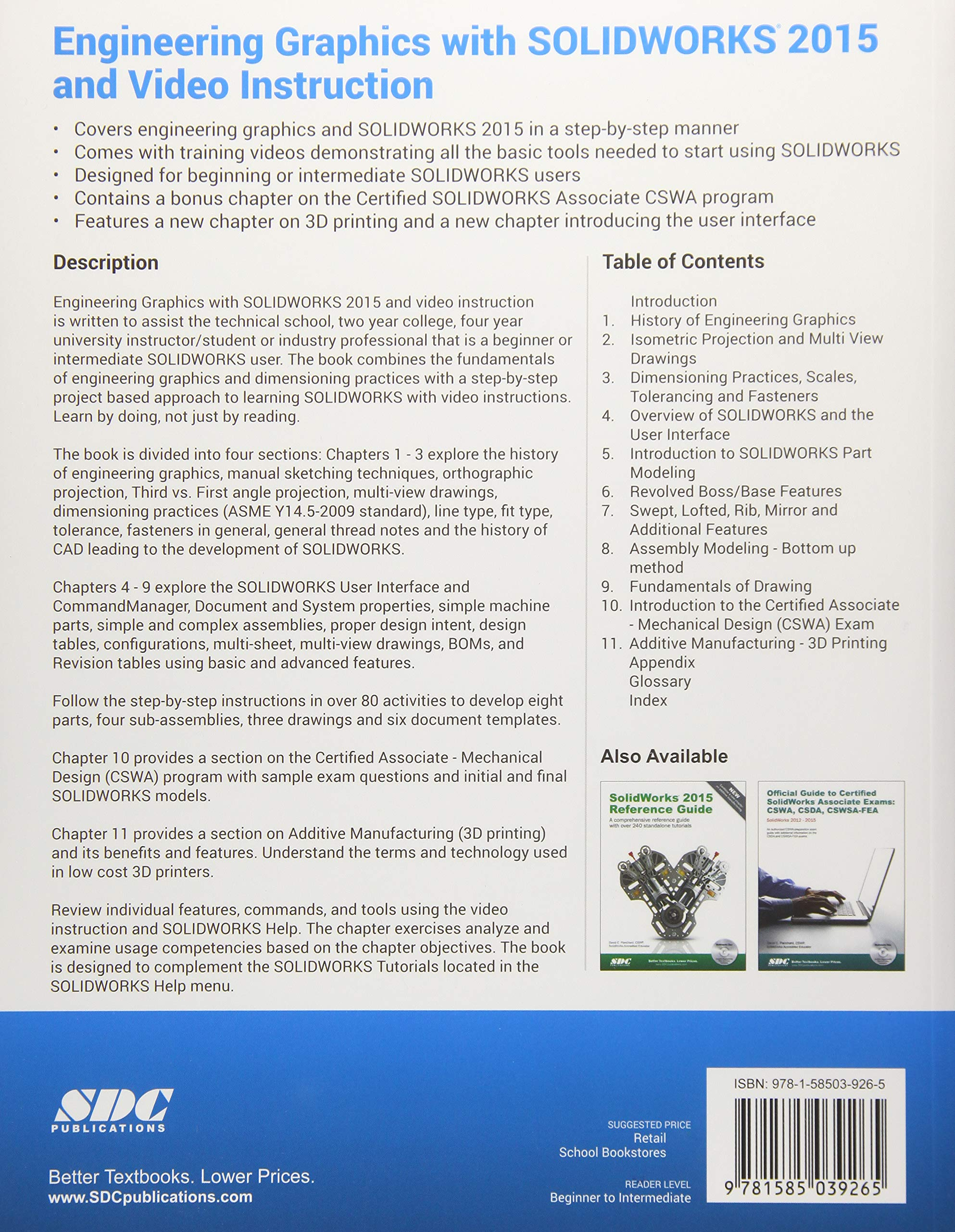 Engineering Graphics With Solidworks 2015 And Video Instruction David C Planchard 9781585039265 Amazon Com Books