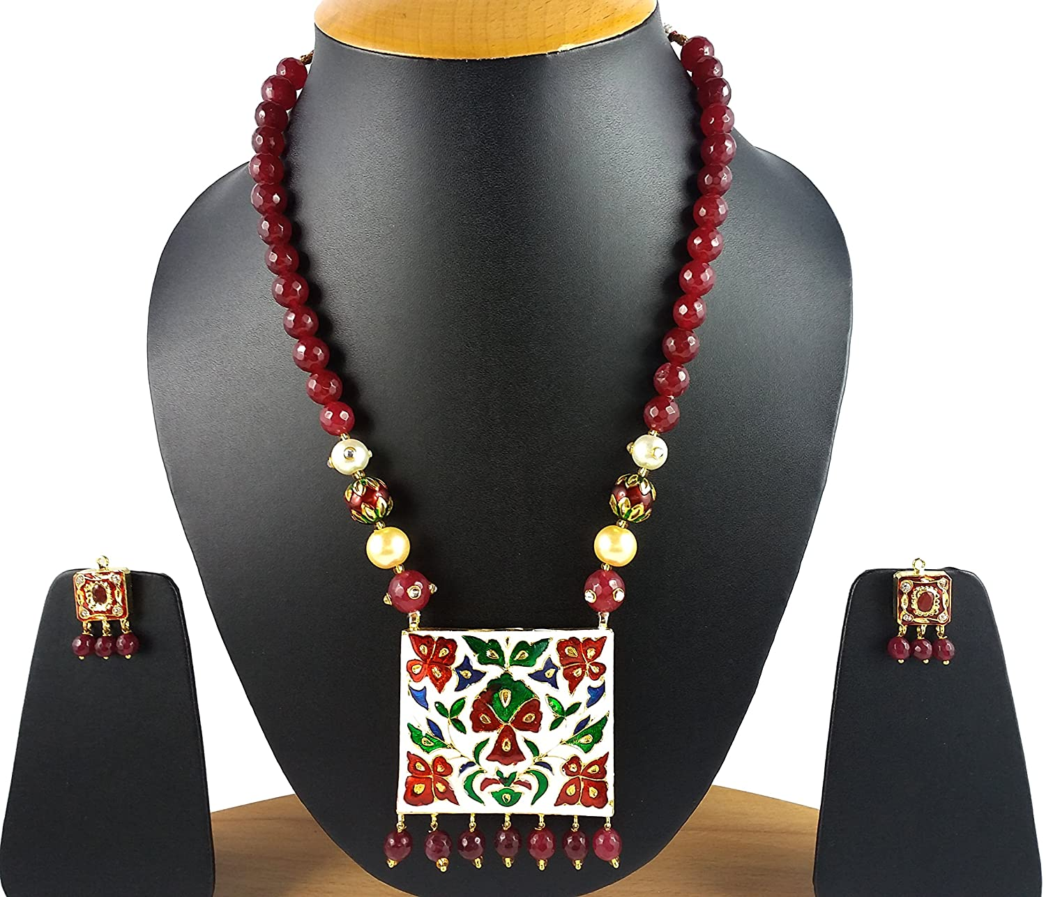 buy art traditional online colour with beads necklace detail geometric designer styled women maharashtrian green polish girls for geru anuradha shape rajasthani