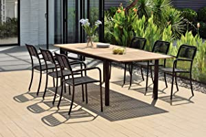 Amazonia Lombardia 7 Piece Extendable Dining Set   Teak Finish Table and Black Chairs  Durable and Ideal for Outdoors