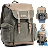 TARION Camera Backpack Canvas Camera Bag Photography Backpack for Women Men Photographer with Laptop Tripod Compartment Water
