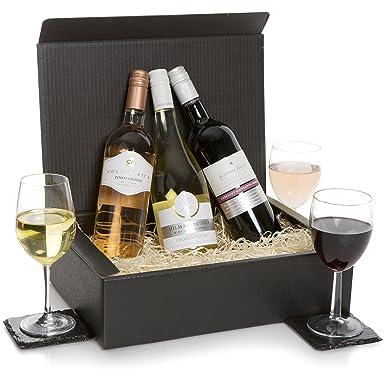 Luxury Wine Trio Hamper Three Bottle Wine Gift Red Wine White Rose Wines In Deluxe Gift Box