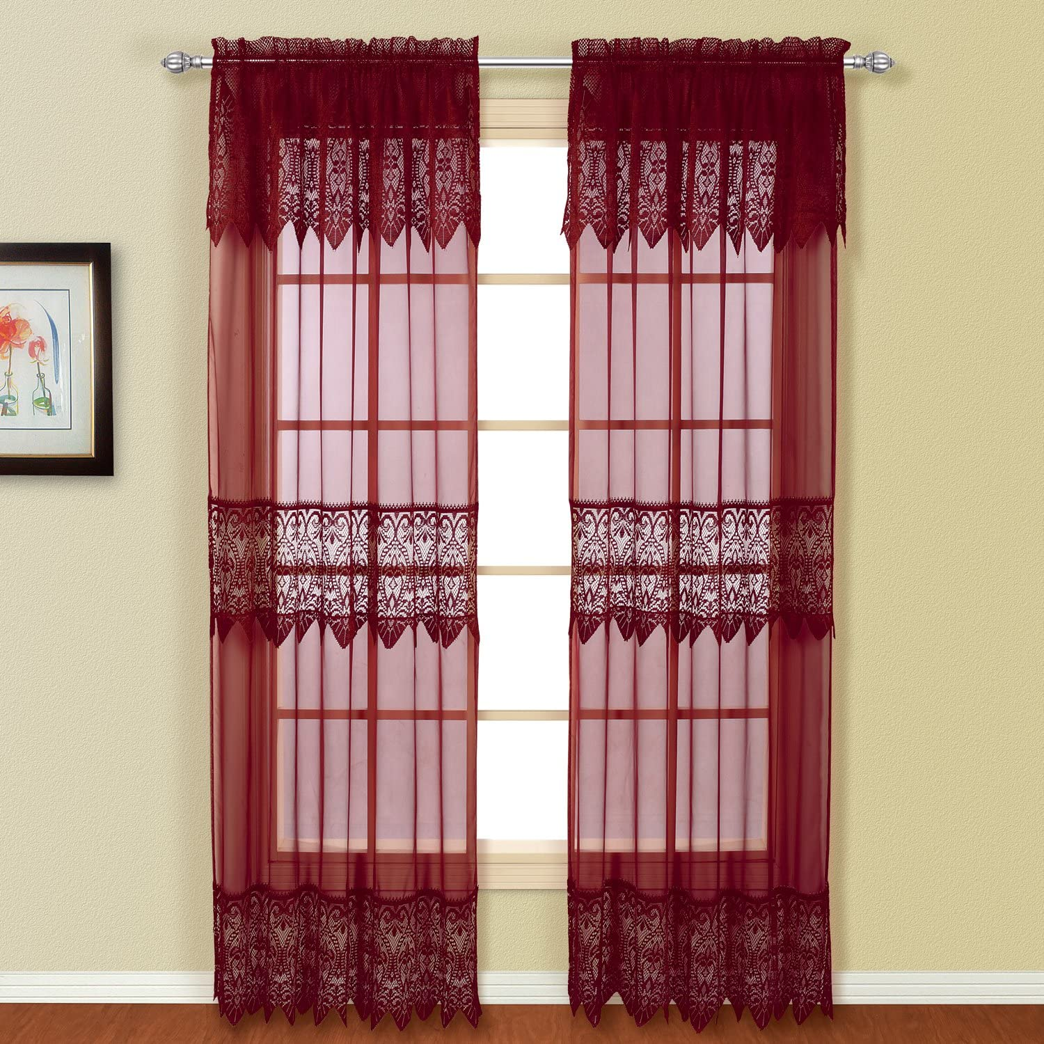 American Curtain and Home Patricia Window Curtain, 52-Inch by 84-Inch, Burgundy