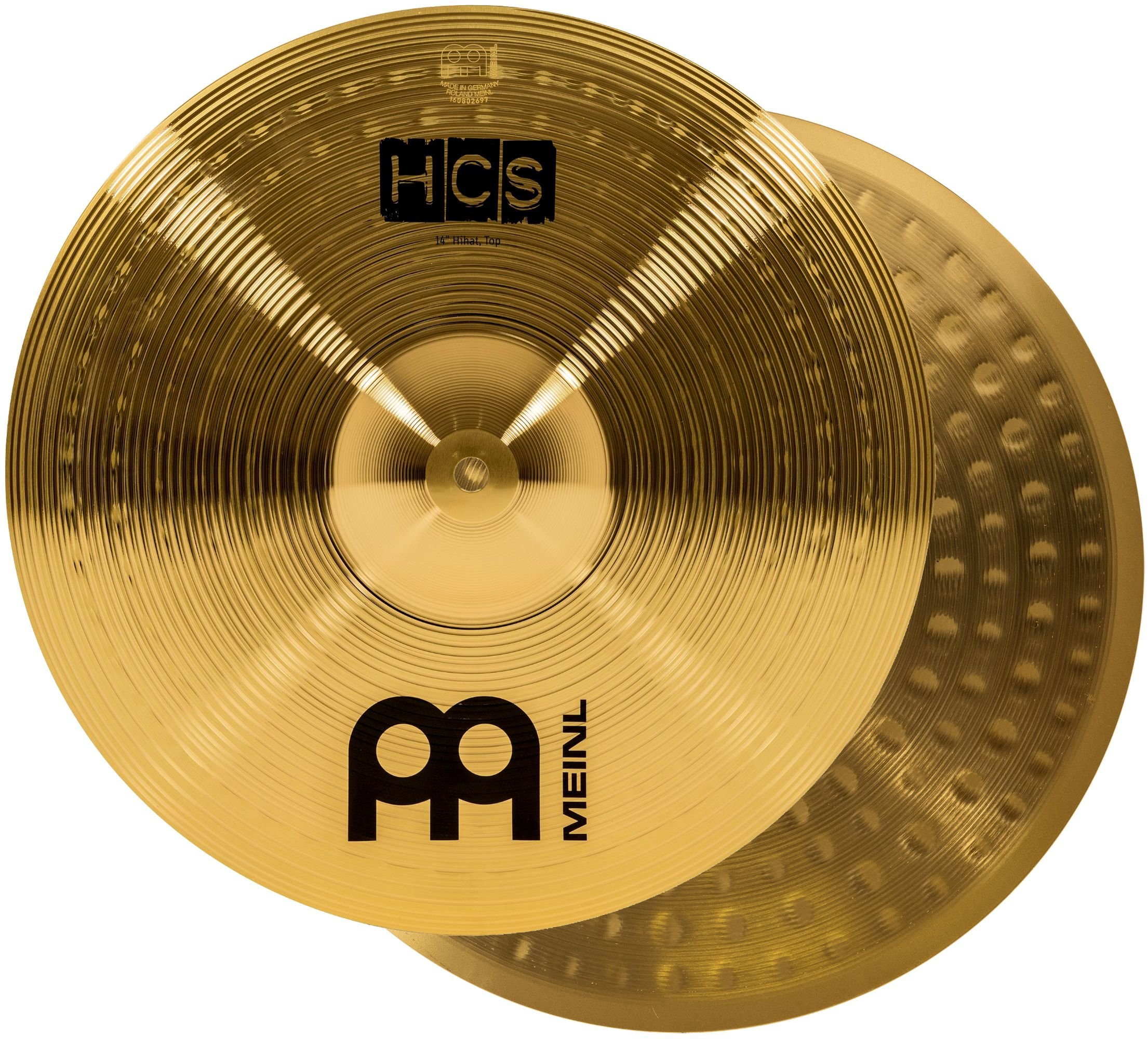 Meinl 14'' Hihat (Hi Hat) Cymbal Pair - HCS Traditional Finish Brass for Drum Set, Made In Germany, 2-YEAR WARRANTY (HCS14H)