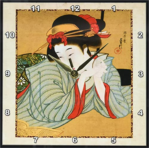 3dRose DPP_62455_1 1850 Japanese Portrait Painting of Woman Wall Clock, 10 by 10-Inch