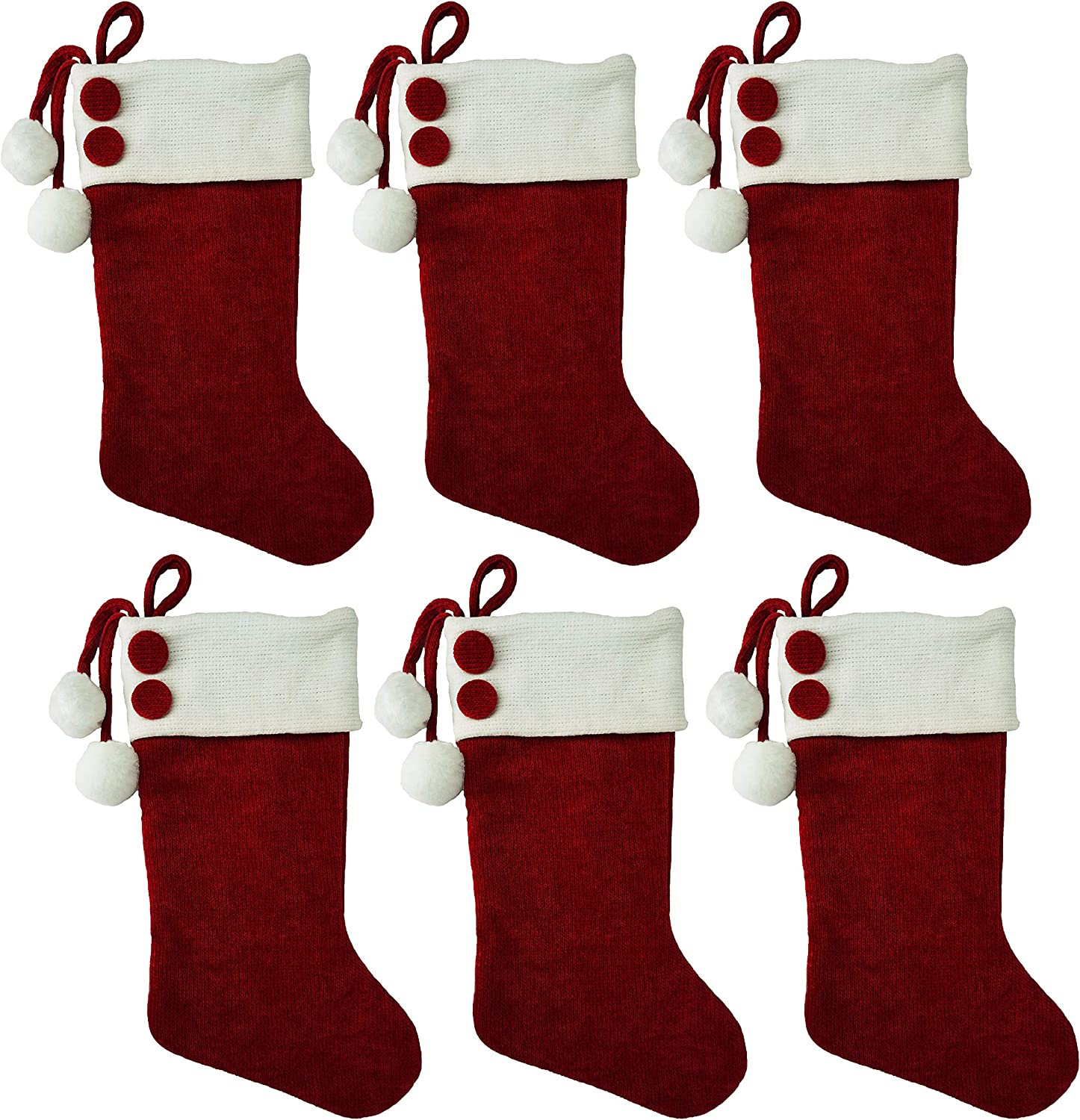 "Lulu Decor, Christmas White & Red Stockings with Bottons 18"" (Pompom 6 pc)"