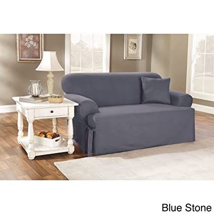 Sure Fit Duck Solid T Cushion   Sofa Slipcover   Bluestone (SF33061)