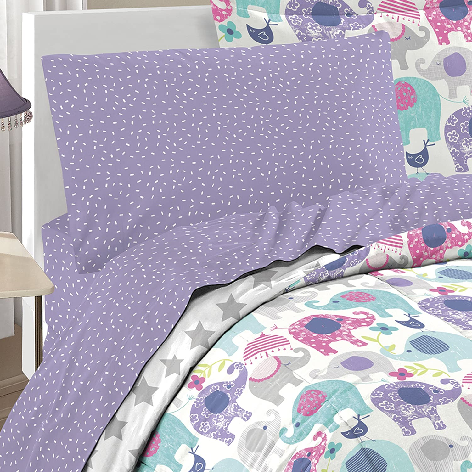 Dream Factory 2A851702PP Ellen Elephant Comforter Set, Full, Purple