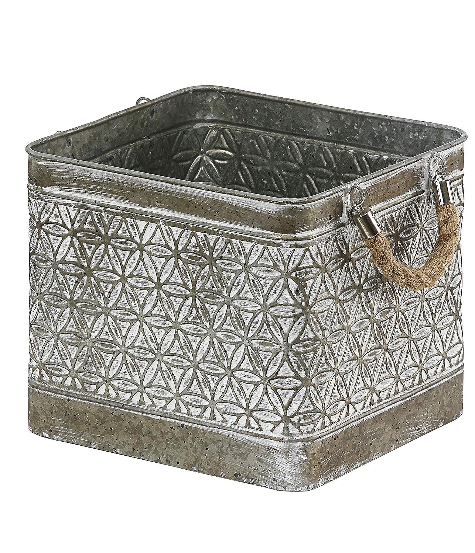Marron//Blanc//Gris Zink 31.5 x 26 x 24 cm Braun//wei/ß//Grau Cache-Pot Dehner Vintage Pflanzgef/ä/ß mit Henkel ca