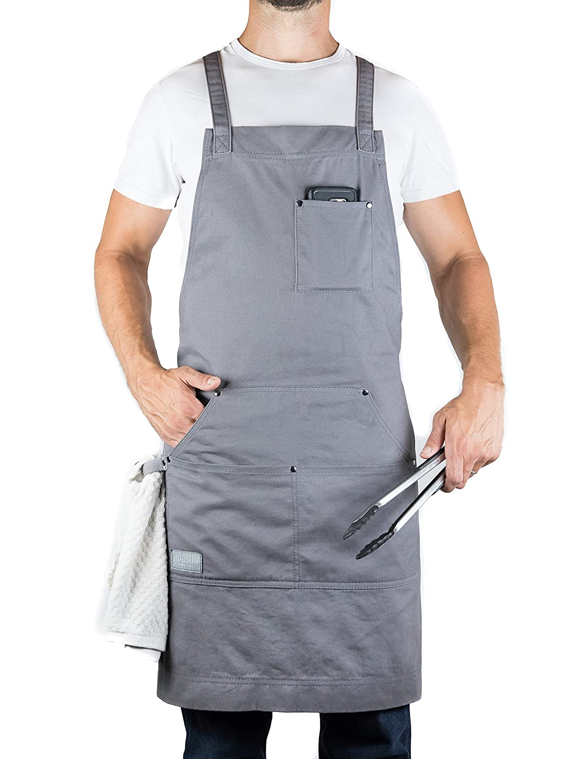 Hudson Durable Goods - Professional Grade Chef Apron for Kitchen, BBQ, and Grill (Grey) with Towel Loop + Tool Pockets + Quick Release Buckle, Adjustable M to XXL
