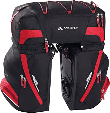 Vaude Karakorum - Alforja para bicicleta, color negro/ rojo, 58 x ...