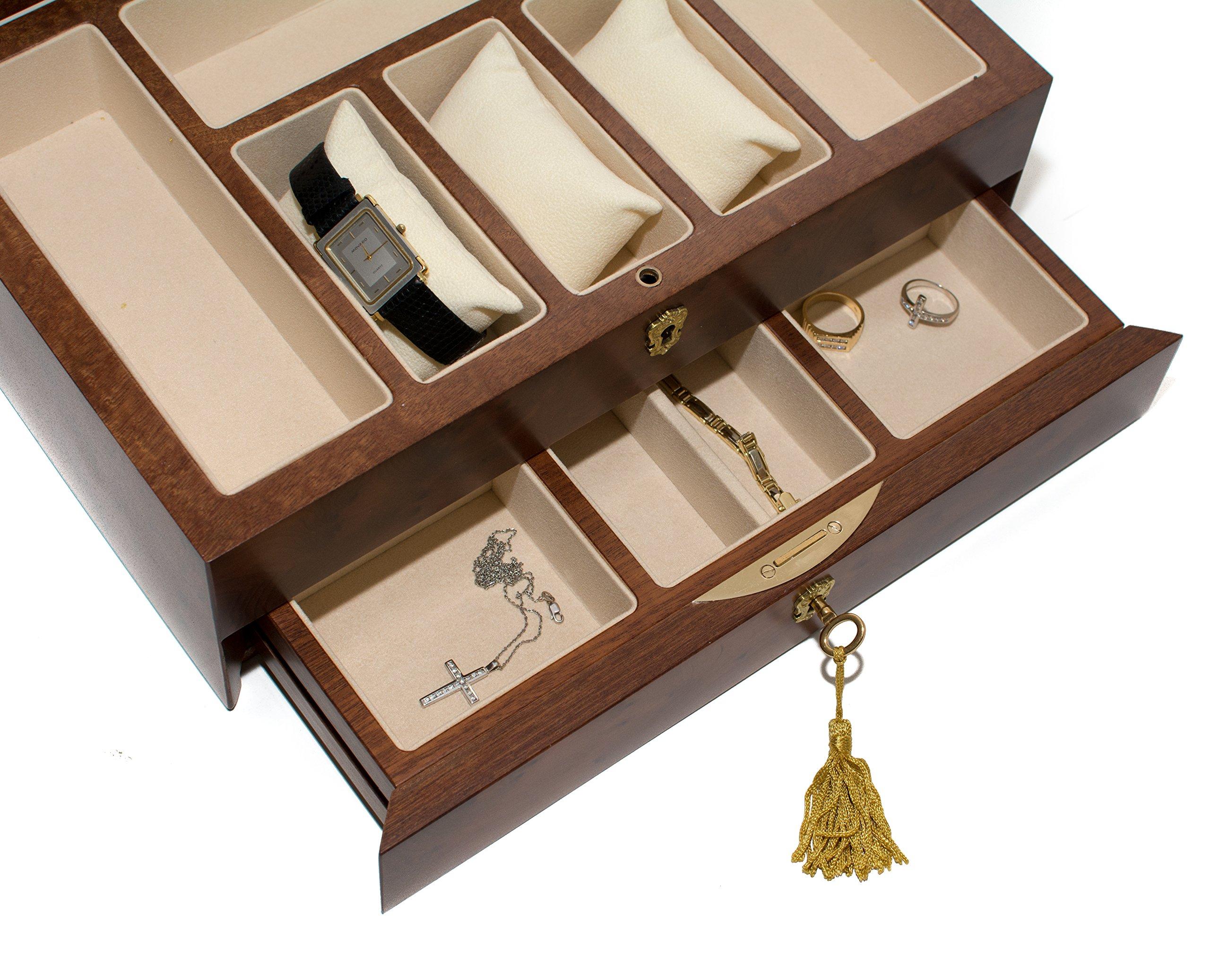 Bello Collezioni - Via Del Corso Luxury Briar Wood Men's/Women's Jewelry Box. Made in Italy by Bello Games New York, Inc. (Image #4)