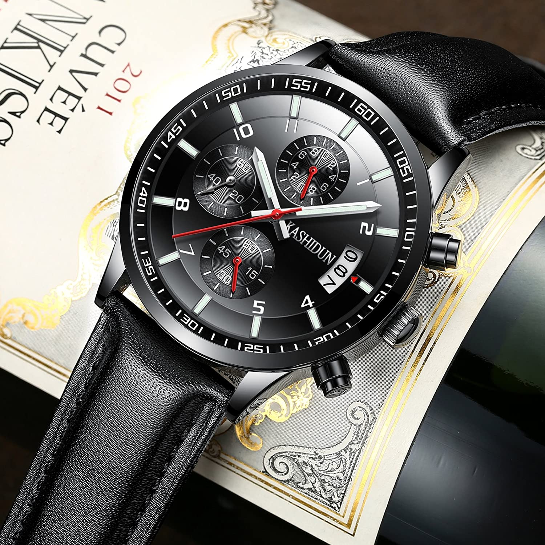 Amazon.com: KASHIDUN Mens Watches Sports Military Quartz Wristwatches Waterproof Chronograph Leather Strap Black Color Red Hands: Watches