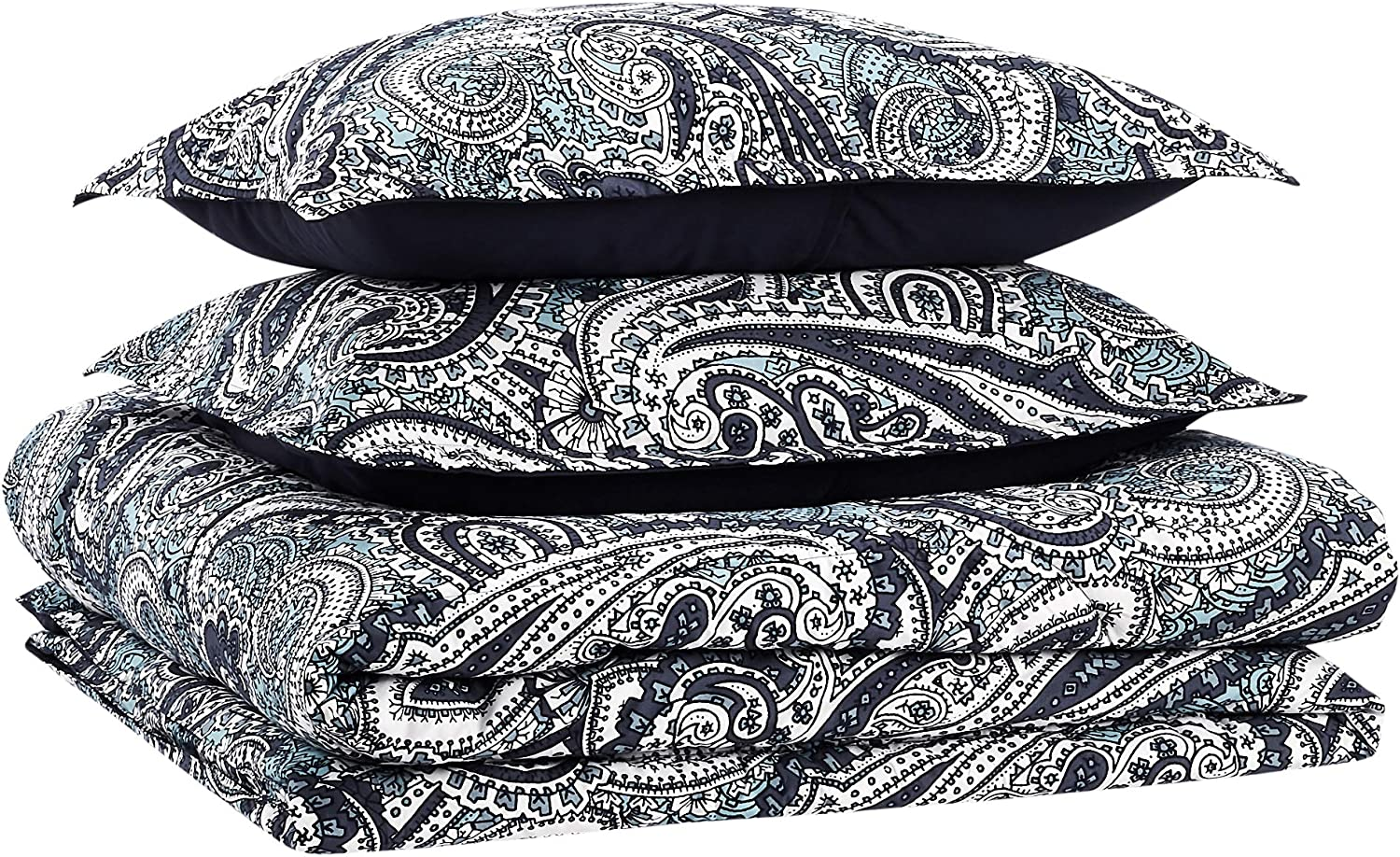 AmazonBasics Comforter Set, King, Blue Paisley, Microfiber, Ultra-Soft