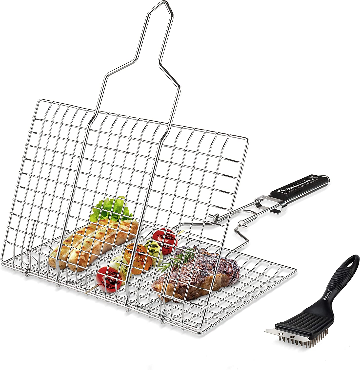 Fiamma Foldable Grill Basket – Durable Food Grade Stainless Steel Portable Grilling Basket for Fish, Meat, Vegetables, Hamburger & shrimp. Barbecue Basket with Removable Handle. Additional Grill Brush