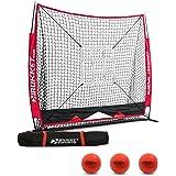 Rukket 6pc Baseball / Softball Bundle | 5x5 Hitting Net | 3 Weighted Training Balls | Strike Zone Target | Carry Bag | Practice Batting, Pitching, Catching | Backstop Screen Equipment Training Aids