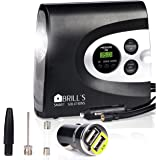 BRILL'S DAC12 Digital Air Compressor up to 150 Psi , for Cars , Bikes , Motorcycle , Balls , 12V Portable Electric Tire Inflator . SOS Flashligh and Bonus - double USB Car Charger
