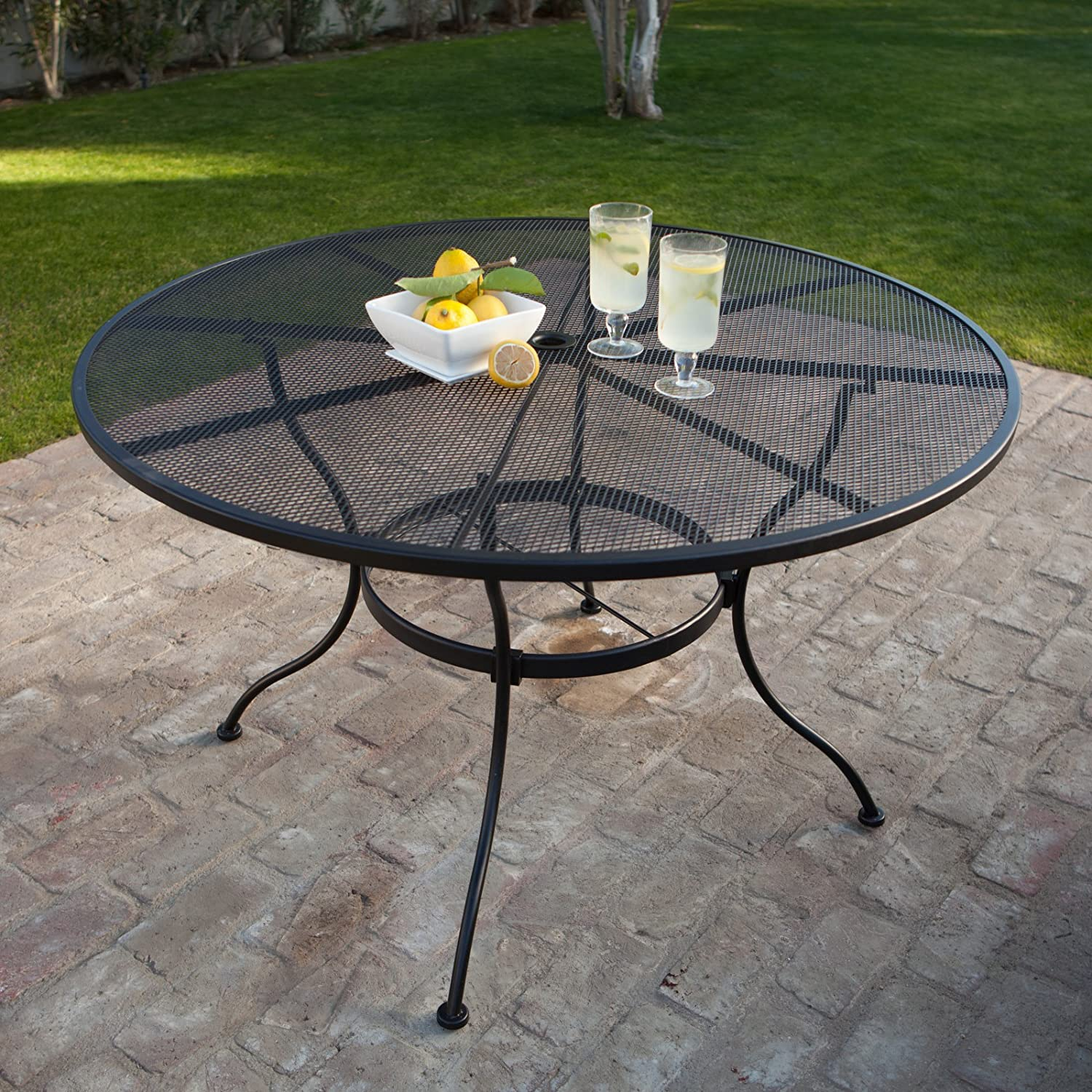 Amazon Com Belham Living Stanton 48 In Round Wrought Iron Patio Dining Table By Woodard Textured Black Kitchen Dining