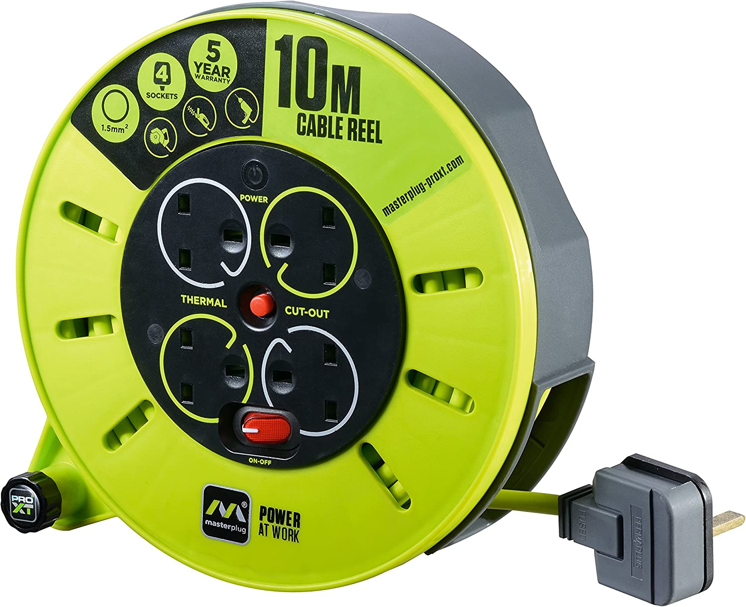 LED 25 Metre Masterplug Pro XT Medium Open Cable Reel 4 SOCKET Switch