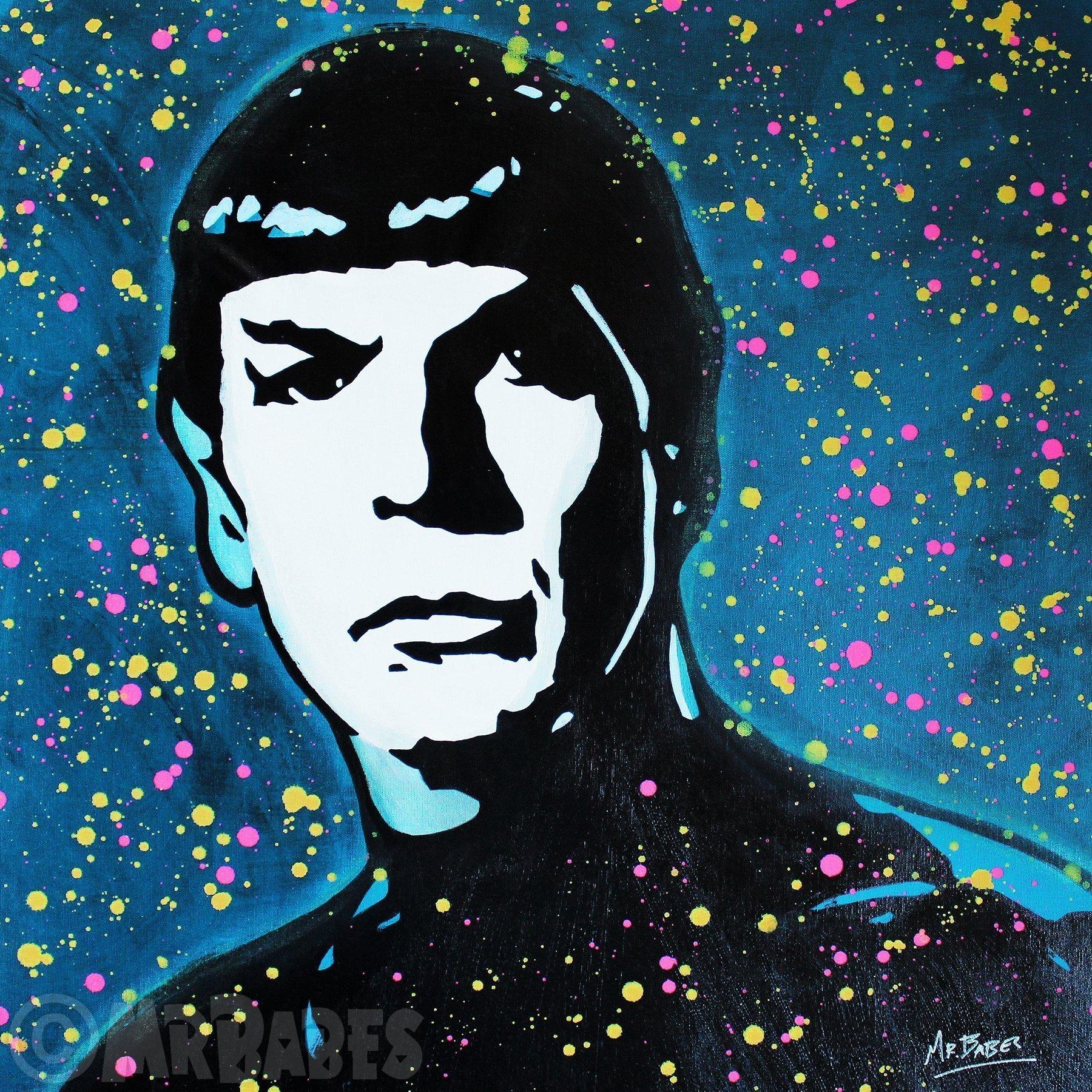 MR.BABES - ''Star Trek: Spock (Leonard Nimoy)'' - Original Pop Art Painting - TV Show Movie Portrait