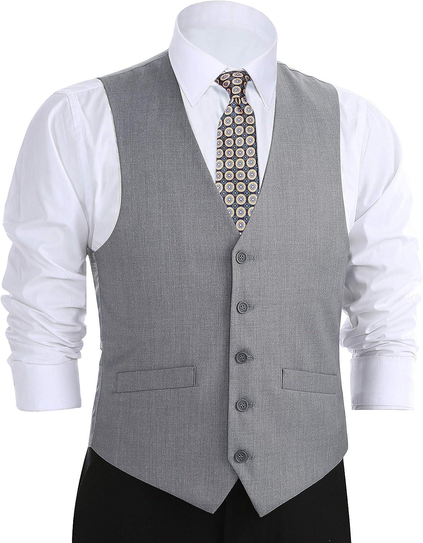 CHAMA Men's Formal Classic Fit Business Dress Suit Button Down Vest Waistcoat (52 Regular, Light Grey)