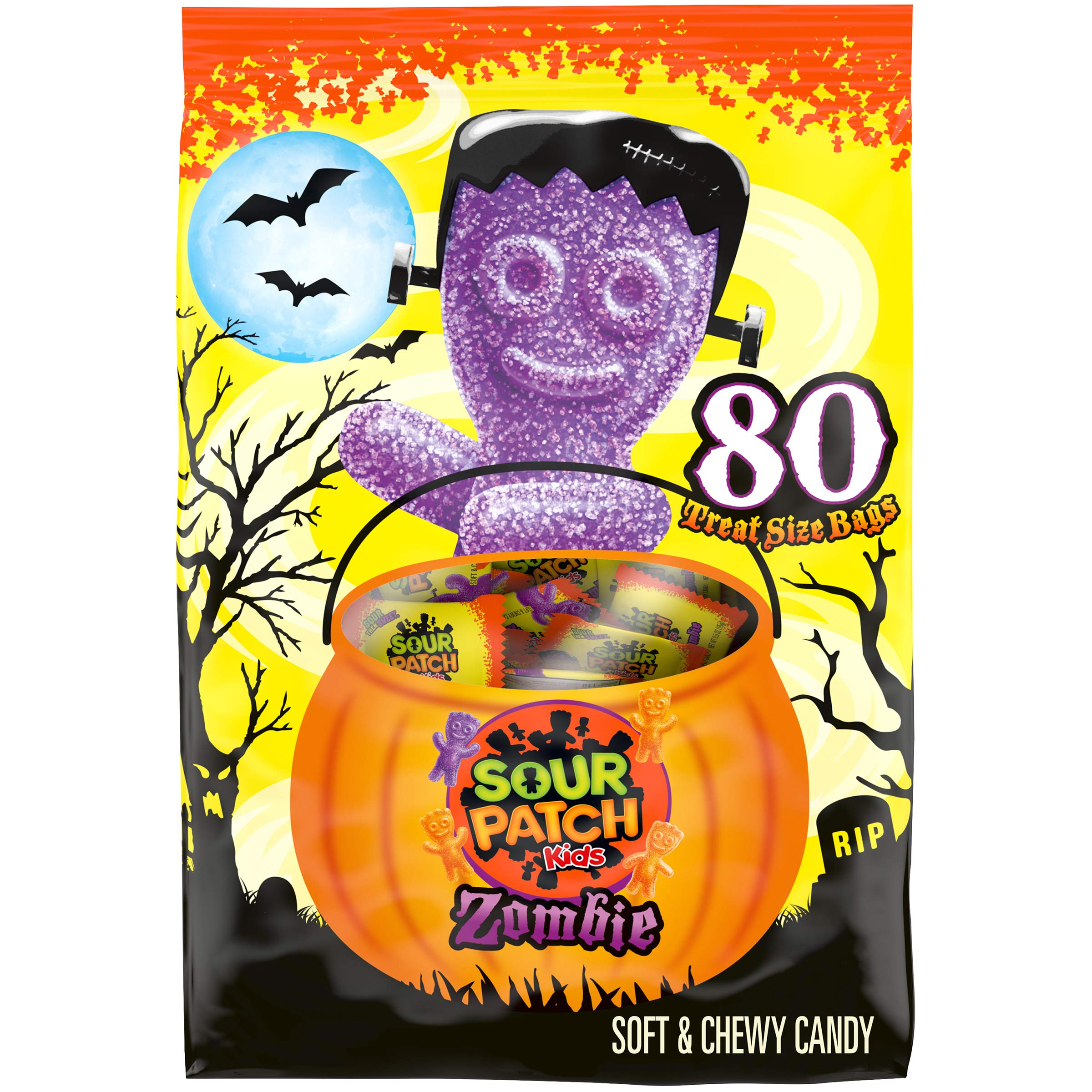 SOUR PATCH KIDS Zombie Halloween Candy, 80 Trick or Treat Size Packs (0.5 oz.) by Sour Patch