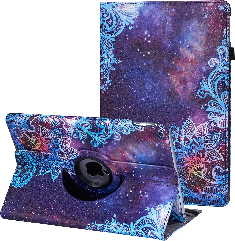 CenYouful iPad Mini Case Fit iPad Mini 3 case/ipad Mini 2 case/ipad Mini 1 case - 360 Degree Rotating Stand Case Cover with Auto Wake/Sleep Compatible Apple iPad Mini 1/2/3 case (Galaxy Flowers)