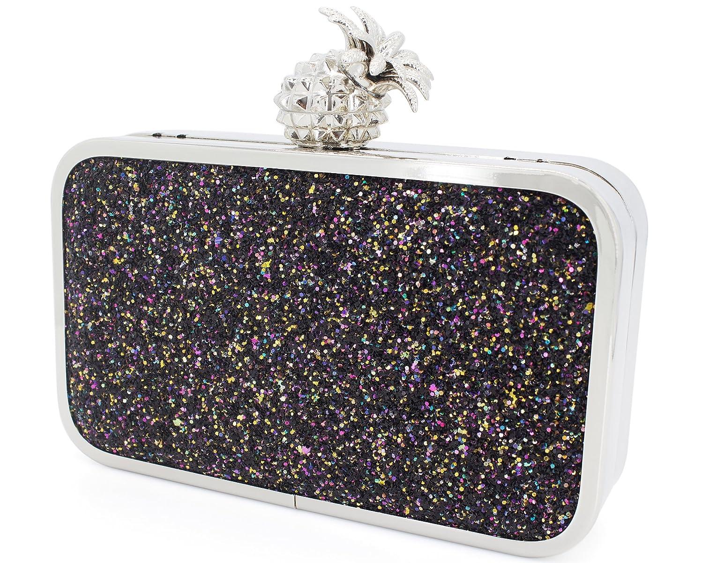 Dexmay Womens Evening Bag Bling Sequin Clutch Bag with Pineapple Clasp Glitter  Clutch Purse Multi Black  Handbags  Amazon.com 836a894d39bd