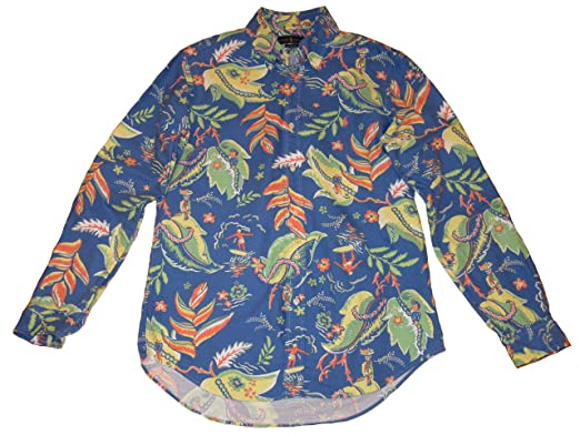 6ef908e1b Ralph Lauren Polo Mens Big and Tall Classic Fit Tropical Long Sleeve Oxford  Shirt Blue (