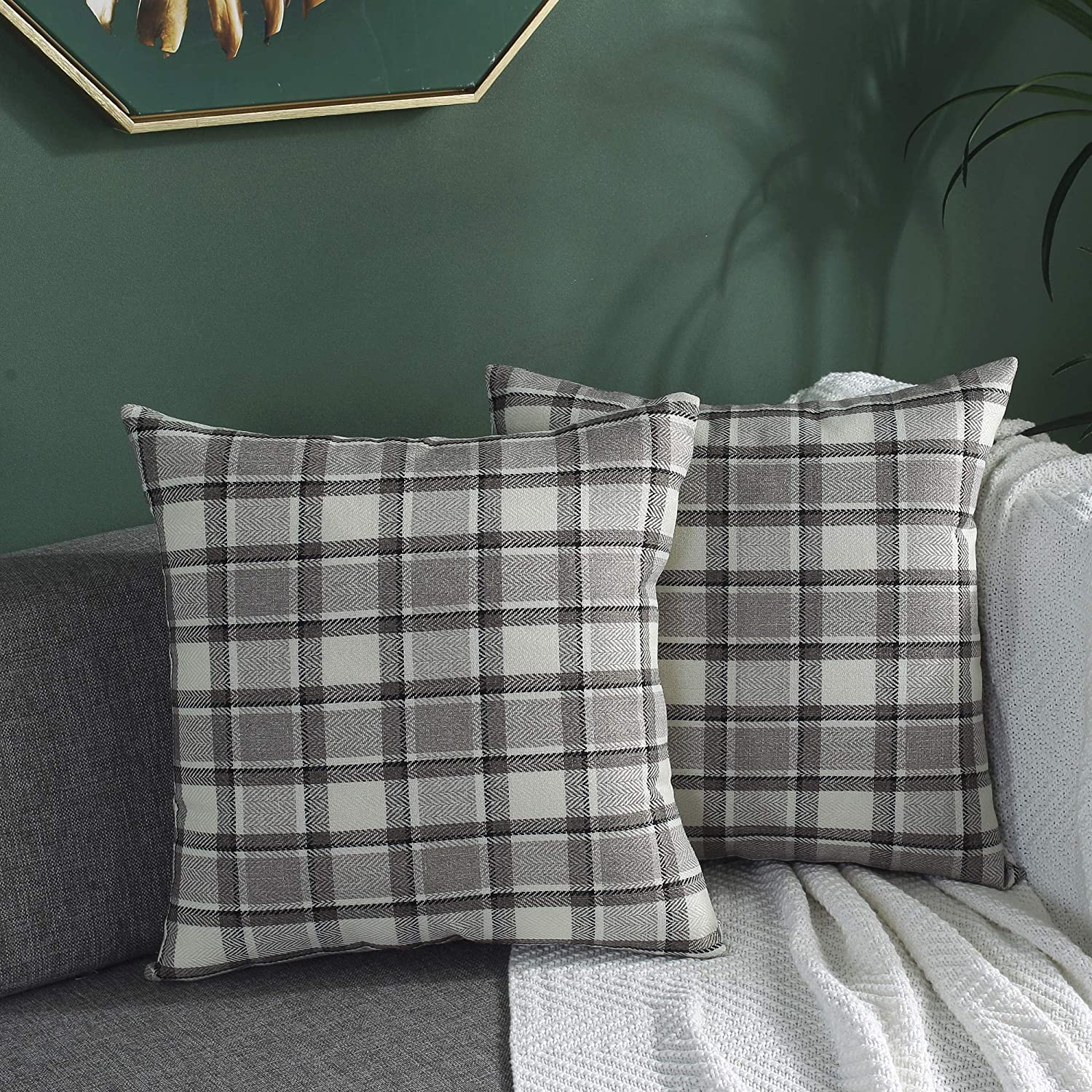 TAOSON Set of 2,Classic Retro Checkers Plaids Lined Linen Burlap Square Deco Throw Cushion Cover Pillow Cover Pillowcase with Hidden Zipper Closure Only Cover No Insert 24