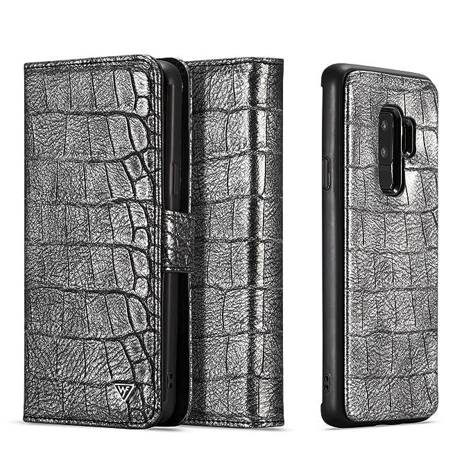 Galaxy S9 Plus Case [2 In 1],Samsung Galaxy S9 Plus Wallet Case [Detachable Wallet Folio] [Premium Texture Leather] Samsung S9 Plus Flip Case Cover (Silver & Black,S9+) by Misscase