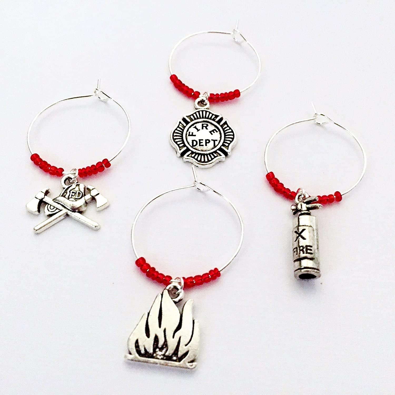 Firefighter themed Wine Charms, wine gift for fire fighter. Includes Helmet and Axe, Fire Dept Emblem, Flame, Fire Extinguisher, and Hydrant. Set of 5. RED BEADS.