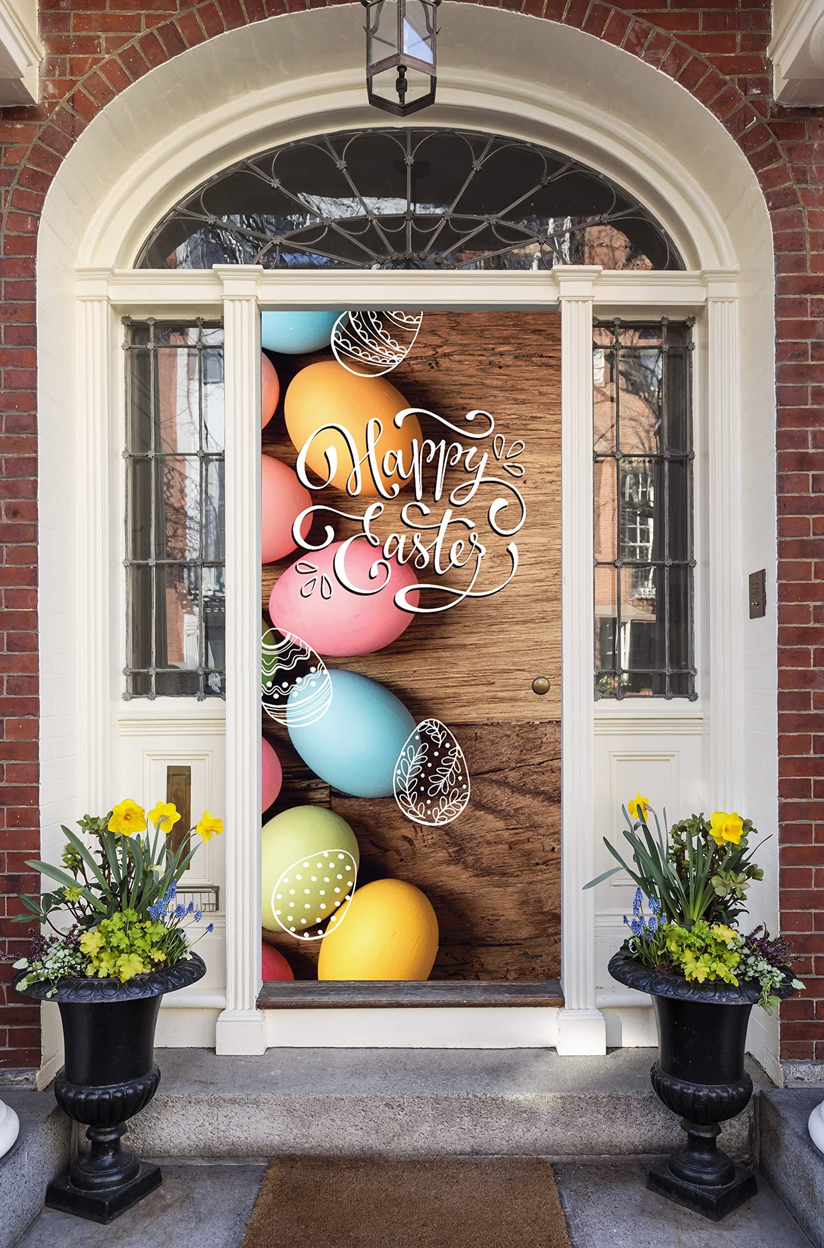 Victory Corps Happy Easter Eggs - Holiday Front Door Banner Mural Sign Décor 36'' x 80'' Front Door - The Original Holiday Front Door Banner Decor