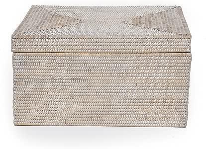 Blanco caja de almacenamiento de ratán, 45 x 35 x 25 cm de alto: Amazon.es: Hogar