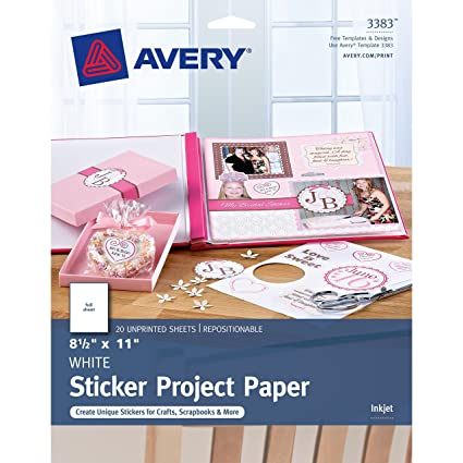 amazon com avery sticker project paper 8 1 2 x 11 inches pack of