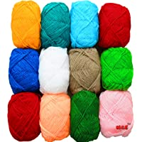 Vardhman Bunny 12 Pc Combo Wool Ball Hand Knitting Yarn / Art Craft Soft Fingering Crochet Hook Yarn, Needle Knitting Yarn Thread Dyed