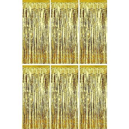 Sumind 6 Piezas de Cortina de Oropel Metálico Cortina de Borla de Fondo de Foto para Decoración de Boda Cumpleaños Fiesta Escenario (Dorado)