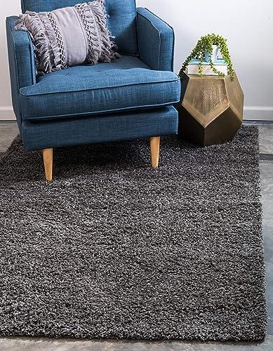 Unique Loom Solo Solid Shag Collection Modern Plush Graphite Gray Area Rug 9 0 x 12 0