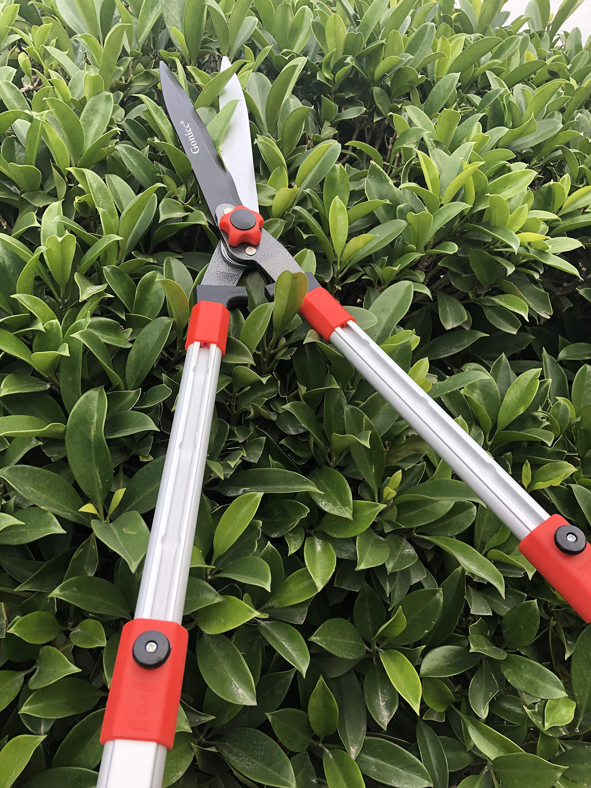 gonicc Professional Adjustable 25''+ 8'' Hedge Shears. with Wavy SK-5 Steel Blade and Shock Absorbing Desig, Adjustable Blade Pressure, Garden Pruning Hand Hedge Trimmers Clippers Shears by gonicc (Image #5)