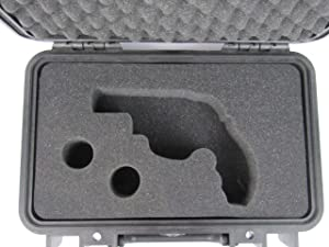 Pelican Case 1170 with Custom Foam Insert for Smith and Wesson 629 Revolver Handgun and 2 Speed Loaders. Water Proof, Dust Proof Carry Case