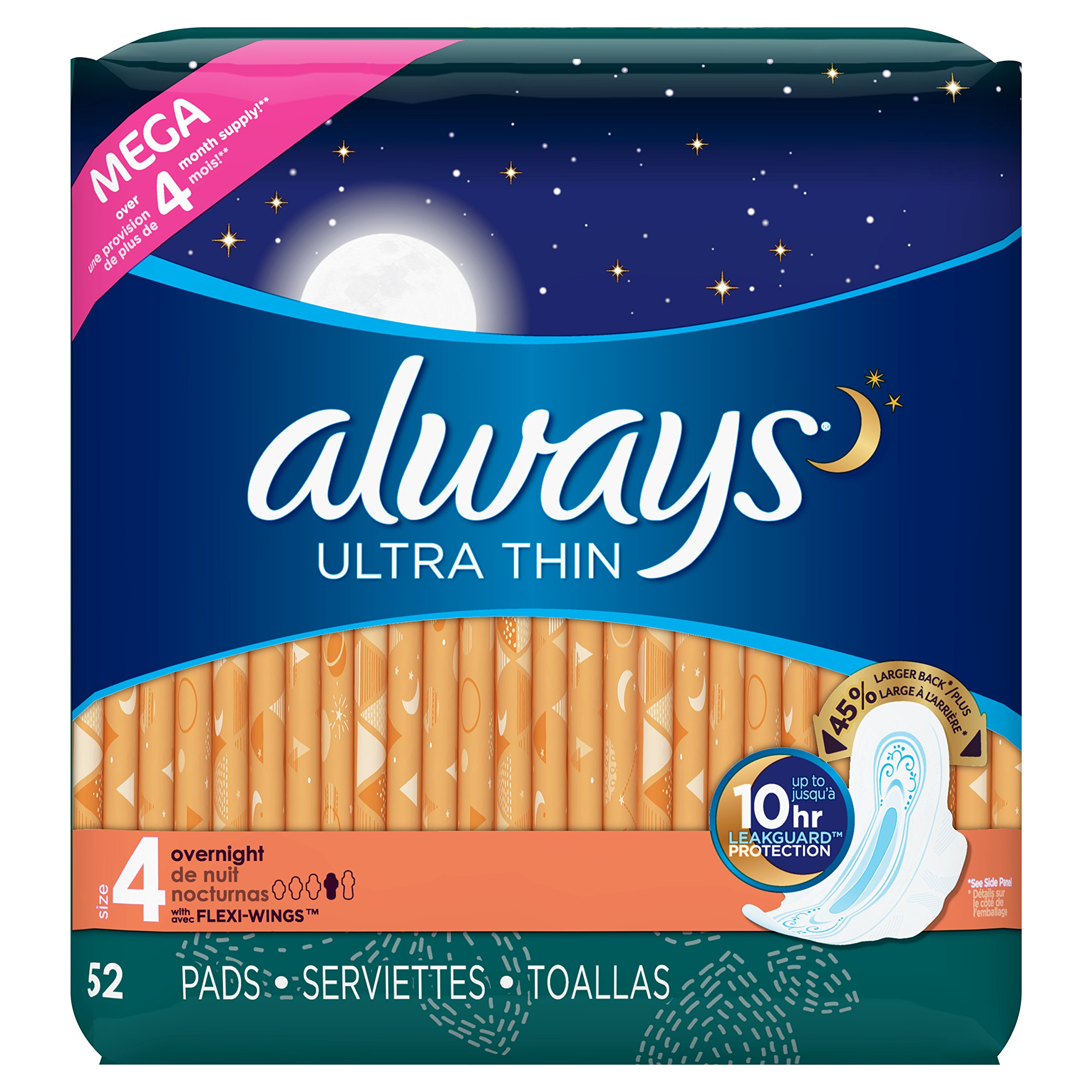 Always Ultra Thin Feminine Pads for Women, Size 4, Overnight Absorbency, Unscented, with Wings, 52 Count - Pack of 3 (156 Count Total) (Package May Vary)
