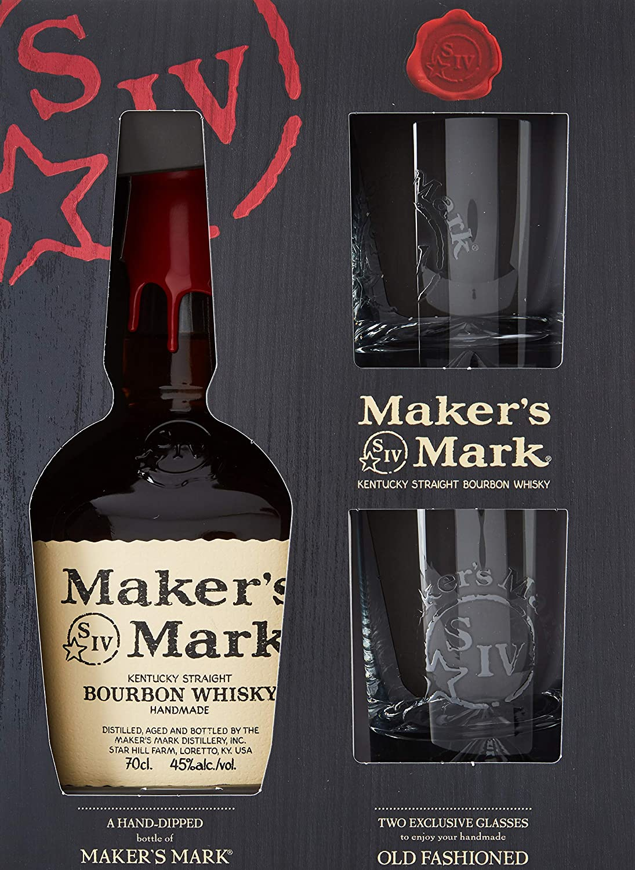 Makers Mark Kentucky Bourbon Whisky, 45% + Estuche 2 Vasos - 700 ml: Amazon.es: Alimentación y bebidas