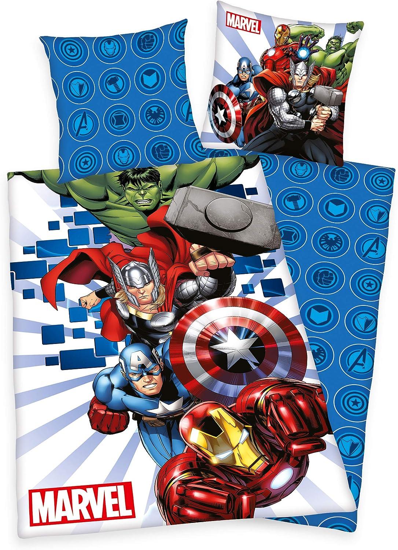 MARVELS The Avengers – Thor Hulk Ironman Captain America cama 80 x 80 135 x 200 cm 100% algodón renforce con cremallera, Nuevo de Herding