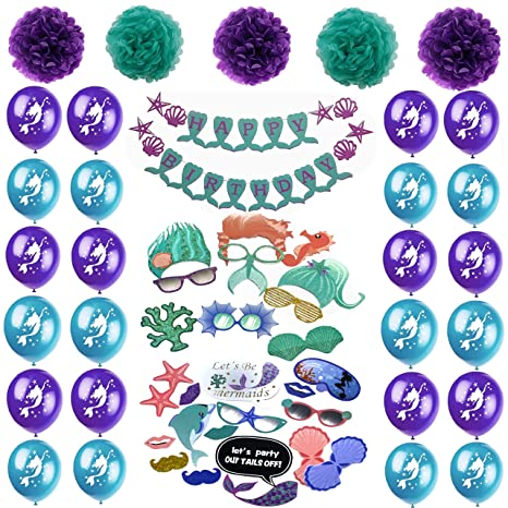 52pcs Mermaid Under The Sea Party Supplies For Birthday Decorations Set Of Happy Balloons