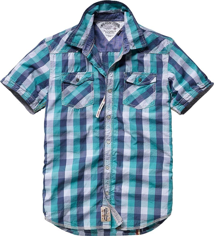Tommy Hilfiger - Camisa de Manga Corta para Hombre, Talla 50, Color (Gumdrop Green 347/Multicolor): Amazon.es: Ropa y accesorios